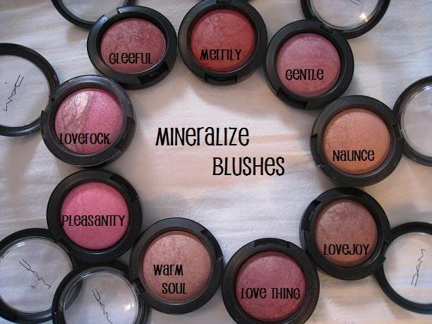 MAC blush: Loverock, Gleeful, Merrily, Gentle, Nuance, Lovejoy, Love Thing, Warm Soul, Pleasantly