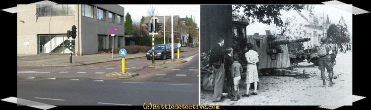 """Eindhoven, September 18th, 1944  Curious citizens take a look at the German 88mm gun that paratroops of """"F""""-Co./506th have just taken out on the junction of Frankrijk Straat, Woenselse Straat and Klooster Dreef."""