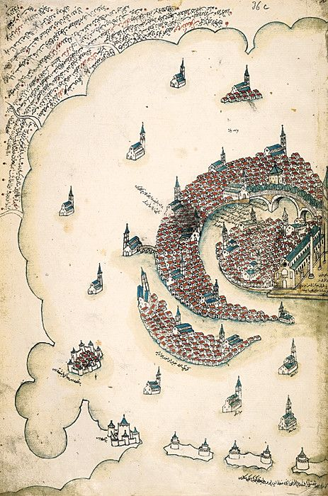 Venice, as rendered by Ottoman admiral and cartographer Piri Reis in his Kitab-i Bahriye, a book of portolan charts and sailing directions produced in the early 16th century