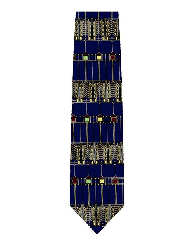 1275bf574c5d Frank Lloyd Wright Tree of Life Glass Design Silk Tie - Navy Review ...
