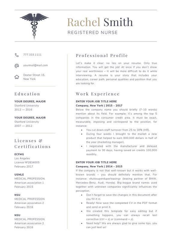 Nursing Resume Template For Word Nurse Cv Template Rn Etsy Medical Resume Template Registered Nurse Resume Nursing Resume Template