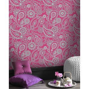 Rasch mandalay paisley wallpaper pink from - Butterfly wallpaper homebase ...