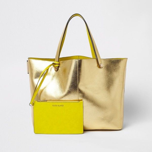 28a153e8ffc27 River Island Gold metallic beach tote bag ($60) ❤ liked on Polyvore ...