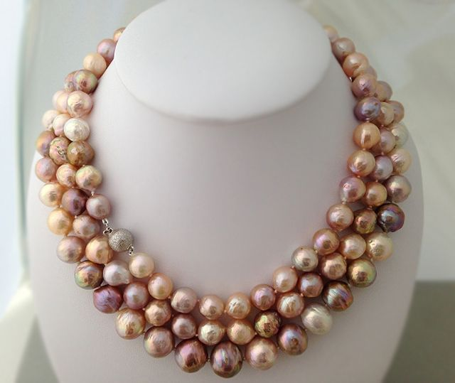 Stunning multi-color freshwater ripple pearl necklace