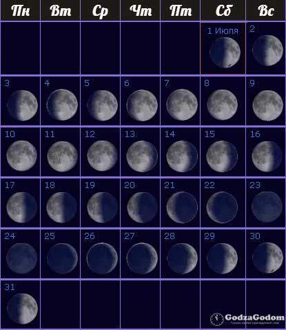 Лунный календарь на июль 2017 года, фазы Луны - http://godzagodom.com/lunnyj-kalendar-na-iyul-2017-goda/