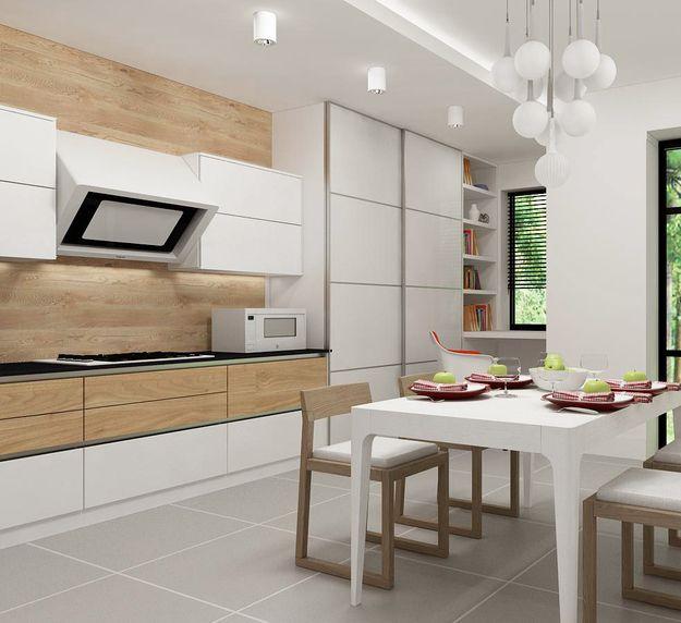 Деревянная стена, на фоне которой эффектно смотрится белая мебель