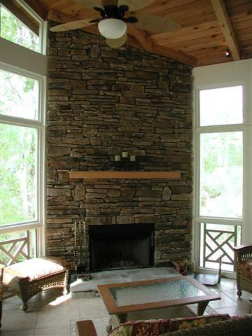 18 best corner fireplace images on pinterest fire places for Back porch fireplace