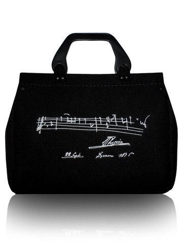 Embroidered black felt bag CHOPIN | SoLime Pty Ltd