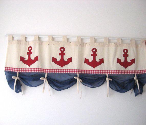 Applique ancoraggio percalle rosso Valance Blu di TalesSweetTale
