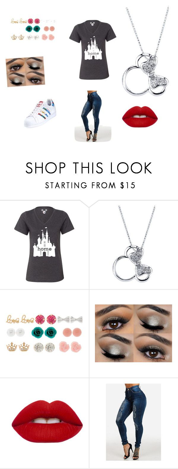 """Disney medley"" by vyesica-yv on Polyvore featuring Disney, Lime Crime and adidas"