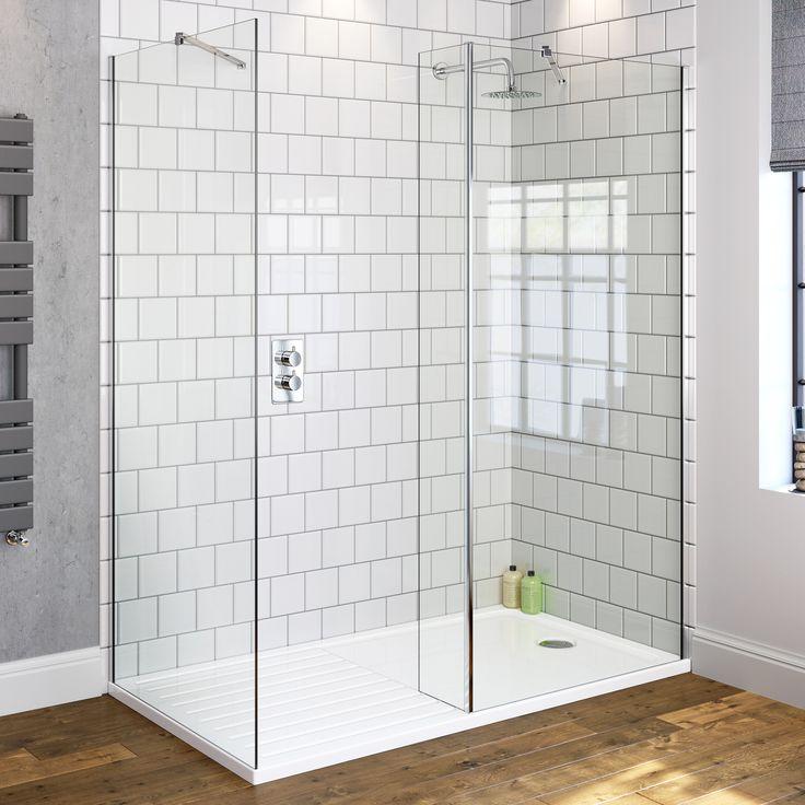 800x800mm Premium Walk Through Shower Enclosure & Side Panel | 8mm - BathEmpire