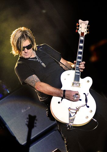 Billy Duffy from the Cult with a Gretsch White Falcon