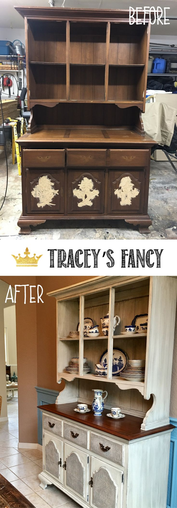 Early American to Farmhouse White China Hutch Makeover