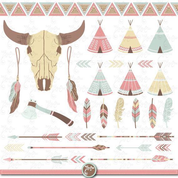 Tribal Clipart pack INDIAN CLIP ARTteepee tents by YenzArtHaut