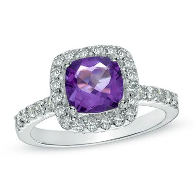 Avail at Zales7.0mm Cushion-Cut African Amethyst and Lab-Created White Sapphire Ring in Sterling Silver - Size 6