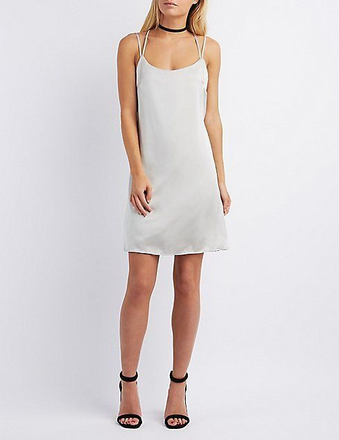 Tie-Back Satin Shift Dress | Charlotte Russe: Get it for $16.99 (was $28.99) #coupons #discounts