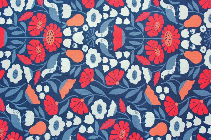 Cloud 9 Fabrics, Elizabeth Olwen, Park Life, Victorian Afternoon, Navy Blue, Organic Cotton, Cotton poplin, Quilting Fabric, Half Metre by TwoChubbyRabbits on Etsy
