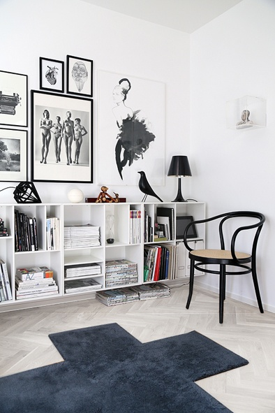 white floor, monochrome prints