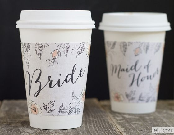 Printable Bride and Maid of Honor coffee cup sleeve wrappers