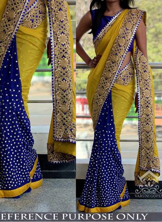 Buy Georgette Yellow & Blue Half & Half Saree