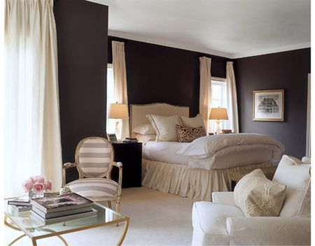master : Wall Colors, Dark Brown Wall, Beds Skirts, Dark Walls, Master Bedrooms, Colors Schemes, Guest Rooms, Bedrooms Ideas, Gray Wall