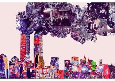 """Saatchi Online Artist Duke Stergos; Collage, """"N.Y. REAL"""" #art"""