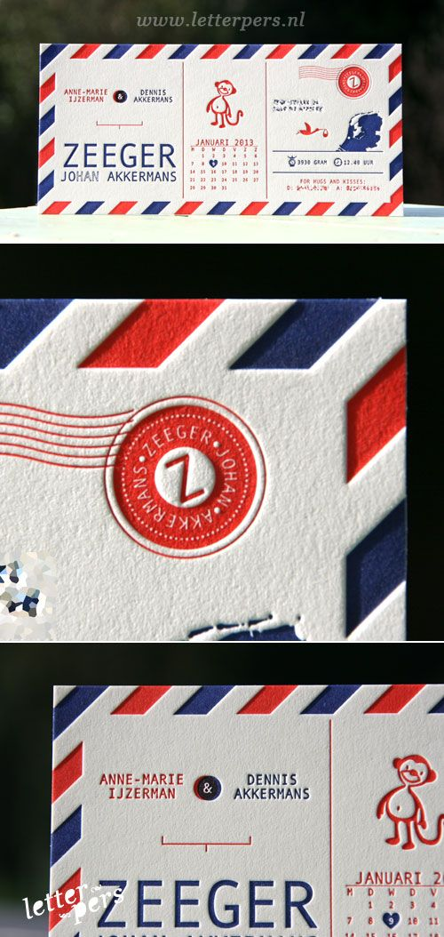 Een e teveel! maar goede keus kaartje: letterpers_letterpress_geboortekaartje_zeeppger_old_mail_envelop_aap_stempel