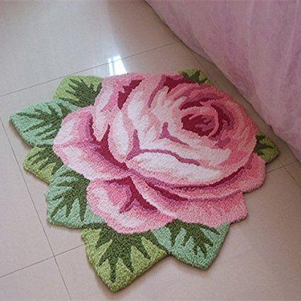 Amazon...sale...29.00....Ustide Modern Style Rug Soft Rose Rug Handmade Rug Anti-Slip Area Carpet Living Room Rug Kitchen Mats Bedroom Rug 3x2