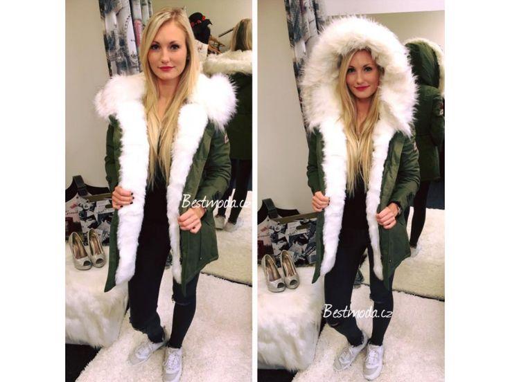 Khaki PARKA s bílým kožíškem, SKLADEM - Bestmoda - Fashion parka with white fur in stock