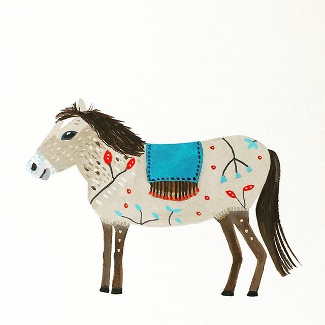 Geraldine.  #gouacheillustration #whimsical #artwork #folkart #illustrationartists #naturelovers #horse