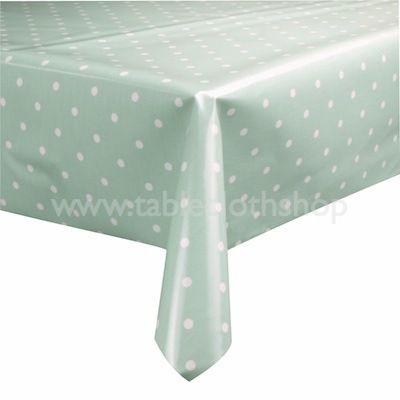 Green Polka Dot Oilcloth Tablecloth