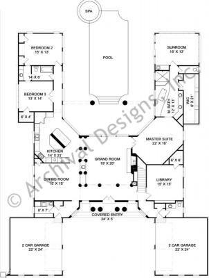 Pingree | Neoclassic House Plan | Classical House Plan. U Shaped ...