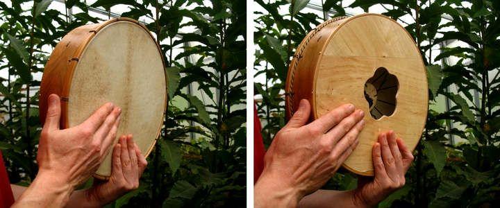 Experimentando cos instrumentos de percusión-tocando