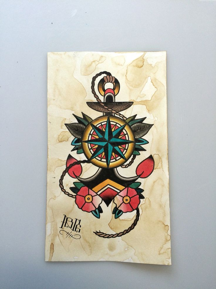 Traditional anchor compass tattoo flash by @nitrobolts