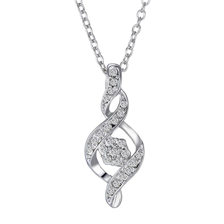 Double Spiral Rhodium Plated Necklace