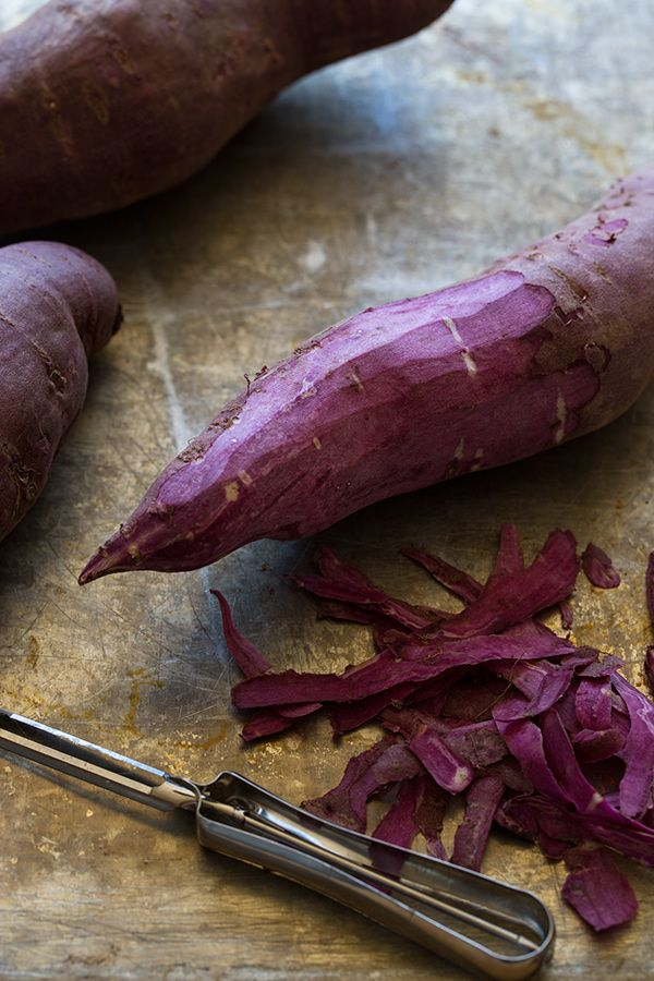 purple sweet potatoes I tried this for the first time and i love it. the jewel color is beautiful on its own, but all the antioxidants in it also make it a sup duper healthy carb like the traditional sweet potato.