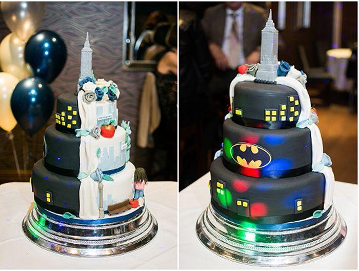 Donna + Dan's Amazing Wedding Cake in Disguise – Photographer Gemma Lawrence #batman