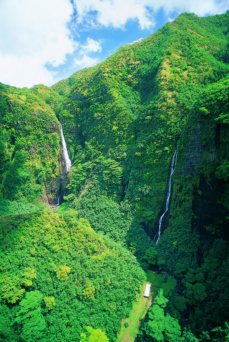 Waterfalls in the Marquesas Mountains in The Islands of Tahiti, French Polynesia. >> How amazing would it be to hike through here? #PinUpLive