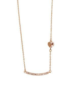 Χειροποίητο κολιέ μπάρα από ασήμι 925ο με ροζ επιχρύσωμα και μενταγιόν ασημένια μπάρα με λευκά ζιργκόν, σε λεπτή αλυσίδα κρίκο κρίκο. Το πλαινό μέρος του κολιέ στολίζει μιά μικρή ασημένια καρδια love 6x6mm στο πλάι. -  Handmade bar necklace made of rose gold plated silver 925o,  thin chain. silver bar pendant with white zircons and a small love heart pendant