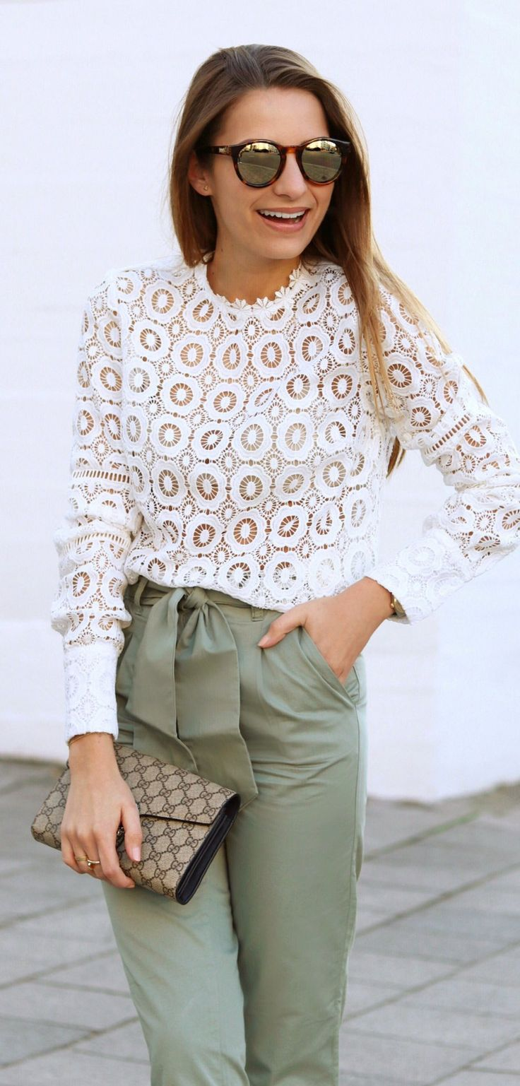 #spring #outfits White Lace Top & Green Pants