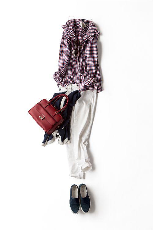 コーディネート詳細(チェックシャツを活かしたトリコロール)  Kyoko Kikuchi's Closet 菊池京子のクローゼット