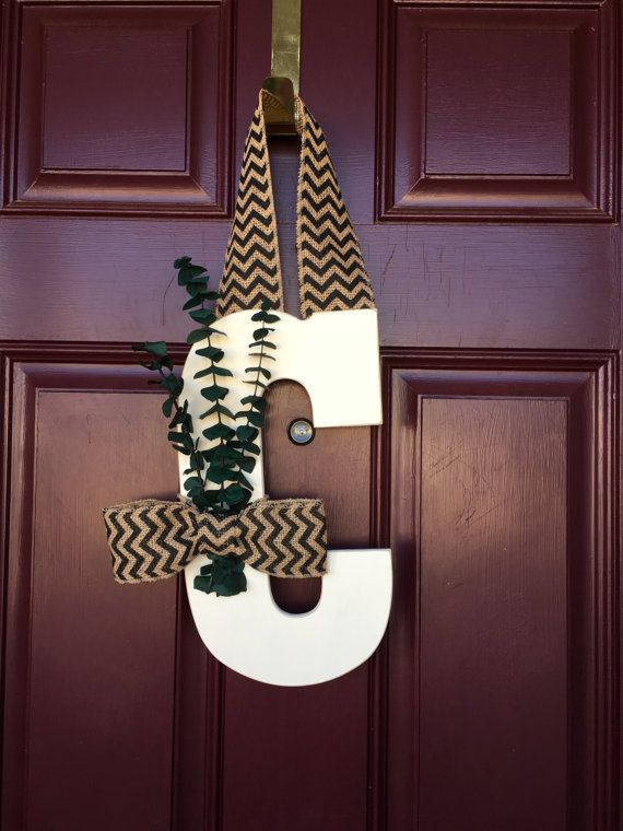 Letter Wreath Monogram Letter Door Wreath Front Door