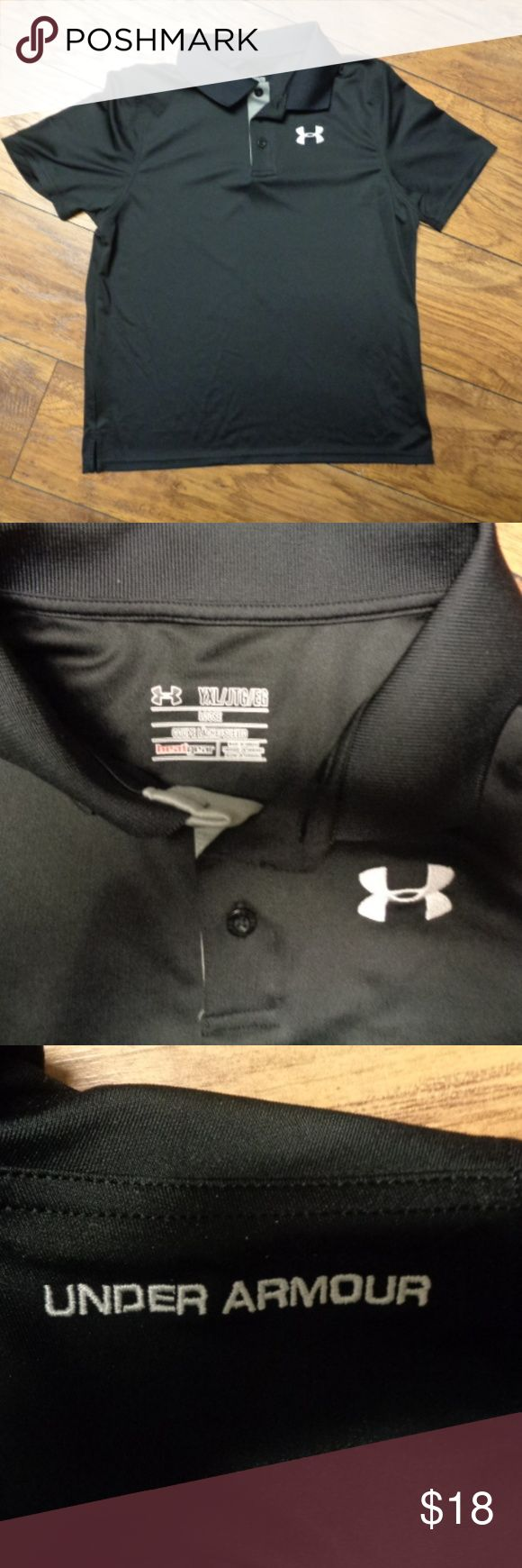 Boy's Black Loose Fit Golf Polo Shirt UNDER ARMOUR Up for sale is a youth boy's loose fit short sleeve Golf Polo Shirt by UNDER ARMOUR Heatgear ~~ Size Youth XL  This short sleeve polo shirt is a solid black in color and has a white under armour emblem embroidered on the front and say's Under Armour across the shoulder on the back.  This polo shirt is in excellent condition and comes from my clean smoke free and pet free home. Any questions, please ask Under Armour Shirts & Tops Polos