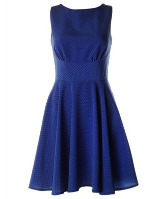 Ditsy kehole high neck blue spotty bridesmaid dress