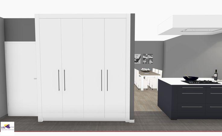 Keuken met kantoor aan huis in 3D | ontwerp: Monique van Koppenhagen | kleuren: wit gecombineerd met donkergrijs in hoogglans | #styling #interieurstyling #interieur #interieurbouw #kantoorkast #3D #bureau #kantoor #boekenkast #keukenmetwerkplek #kantooraanhuis #maatwerk