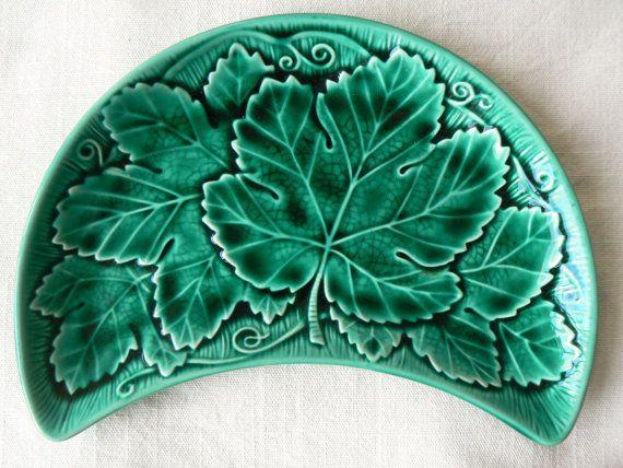 Wedgwood majolica emerald green side plate