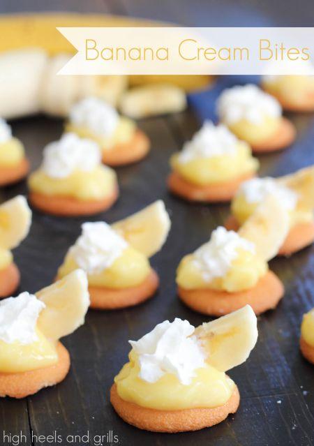 Banana Cream Bites. Quick and easy dessert recipe. http://www.highheelsandgrills.com/2014/02/banana-cream-bites.html