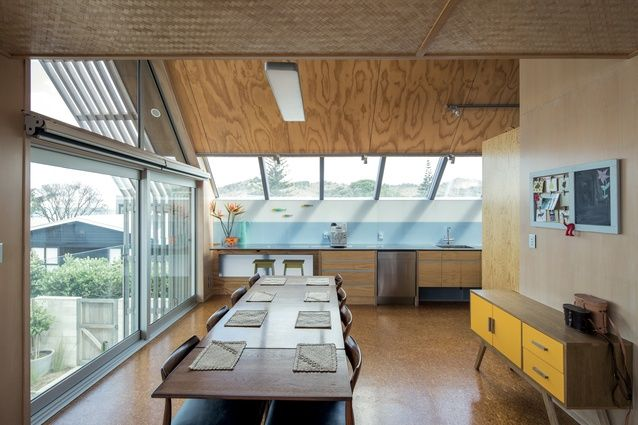 Pipi Beach House in Whanga | raw material palette including a woven grass ceiling