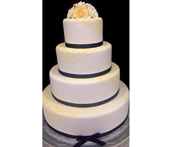 Virtual Wedding Cake Design : 4-Tier Classic Wedding Cake with Scroll design, trimmed in ...