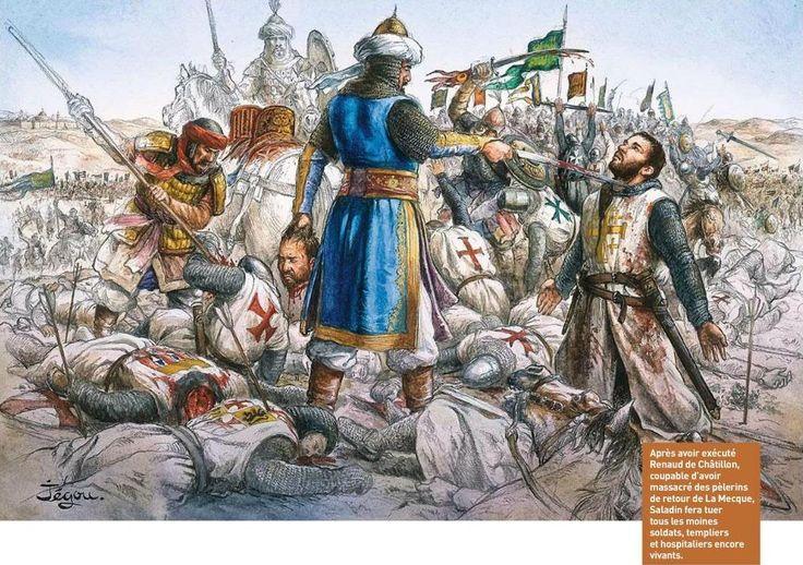 La masacre de templarios y hospitalarios tras la batalla de Hattin. Más en www.elgrancapitan.org/foro